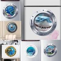 Autocollants muraux sous-marin 3d vifs en Pvc  decoration de la maison  refrigerateur  salle de bain  poisson requin  Art Mural  decoration de la maison
