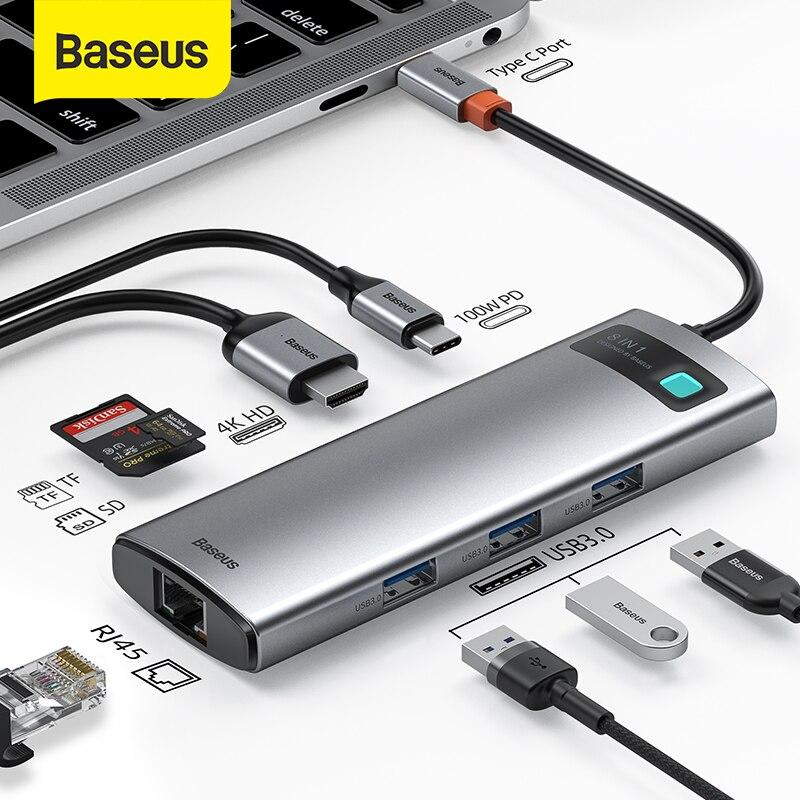 Baseus usb hub tipo c para multi usb 3.0 4k hd pd 100w porta usb hub adaptador para macbook pro ipad portátil usb divisor usb 3.1 c hub