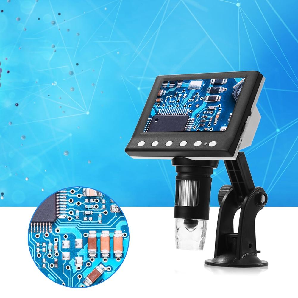Microscopio Digital electrónico 1000X, pantalla de 4,3 pulgadas, microscopio Digital VGA, lupa de 8 LED para inspección de teléfono de reloj textil
