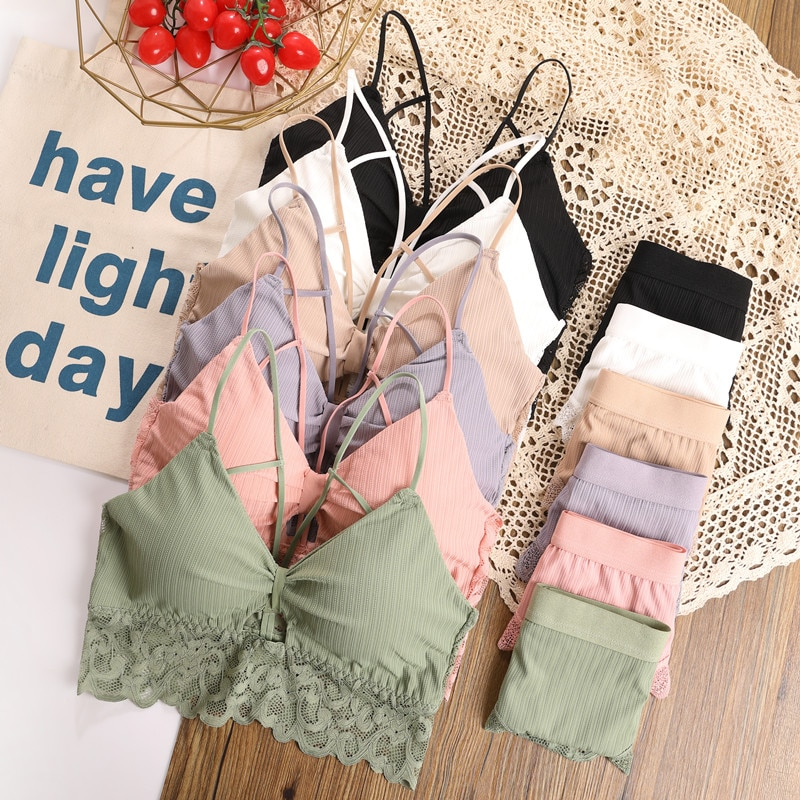 CHRLEISURE Lace Bra Set/2PCS Ladies Women Sexy Backless Underwear Set V-neck Brassiere Wireless Bralette Panties Suit