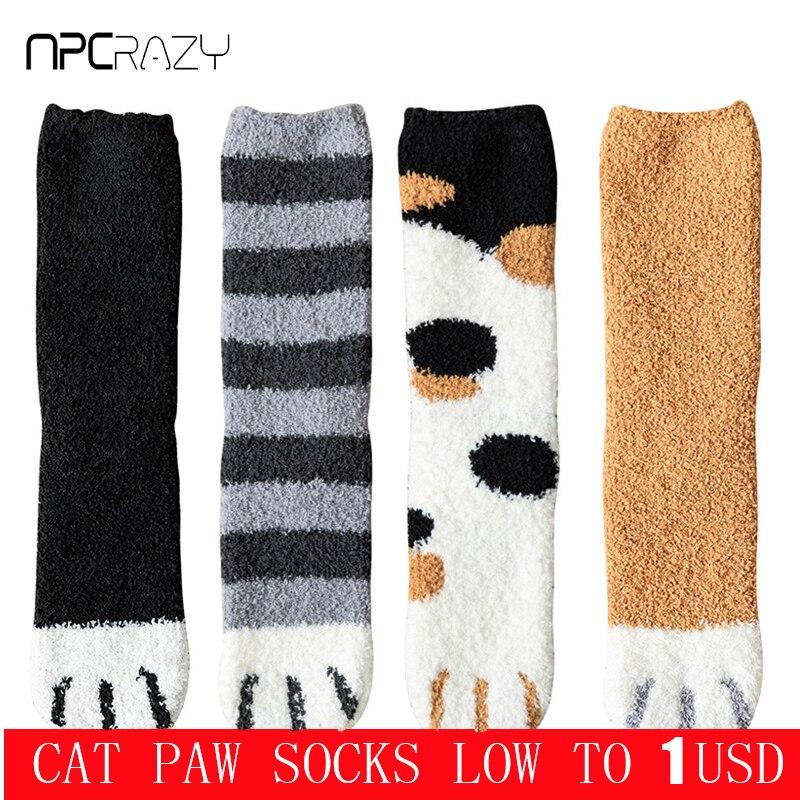 Winter Warme Katze Pfote Socken Für Frauen Dicken Korallen Fleece Mädchen Schlafen Fuzzy Socken Hause Boden Kawaii Klaue Socken Weihnachten