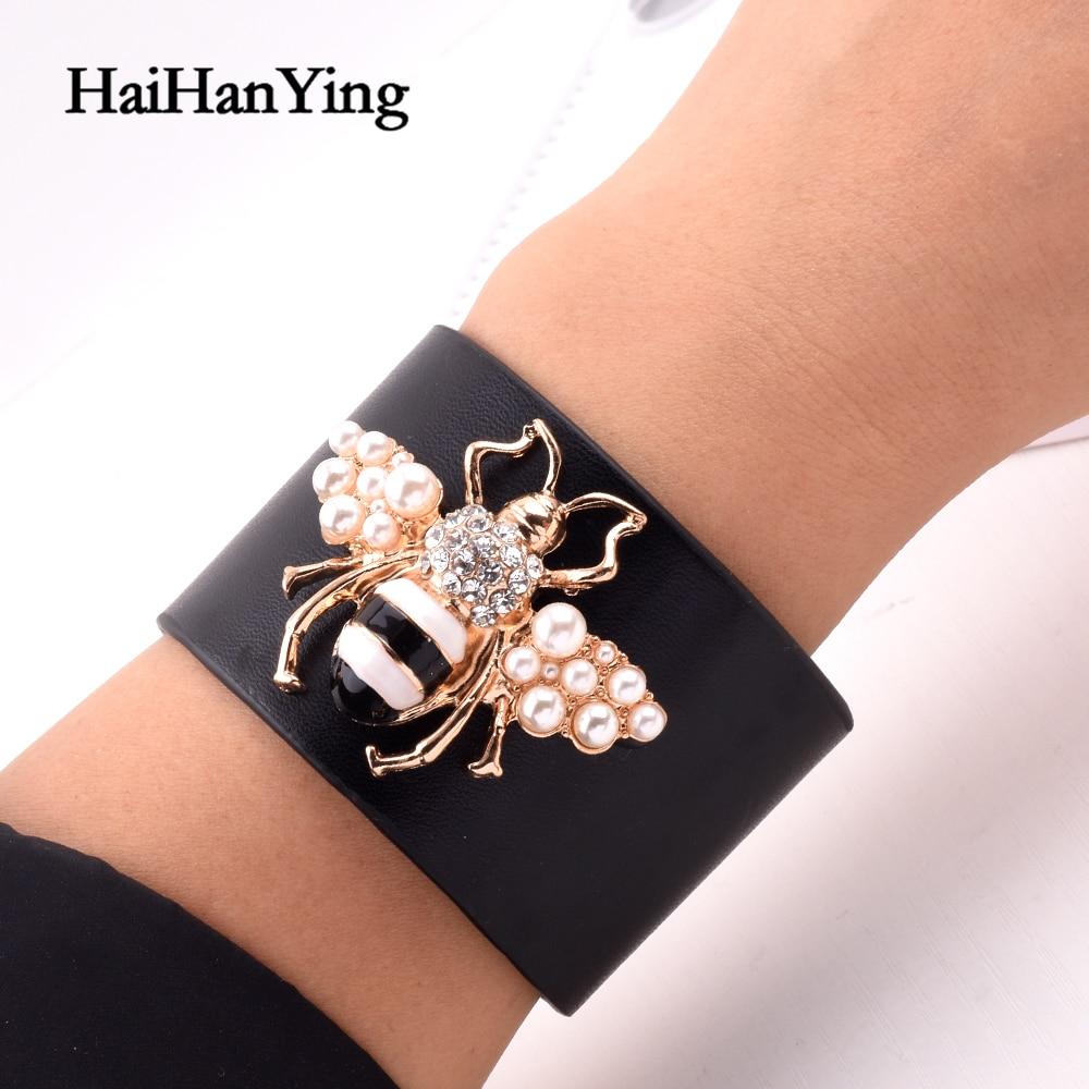 Frauen Mode Übertrieben Bee Big Armband Einstellbare Leder Insekt Tier Perle Armreif Modell Partei Luxuriöse Charme Schmuck