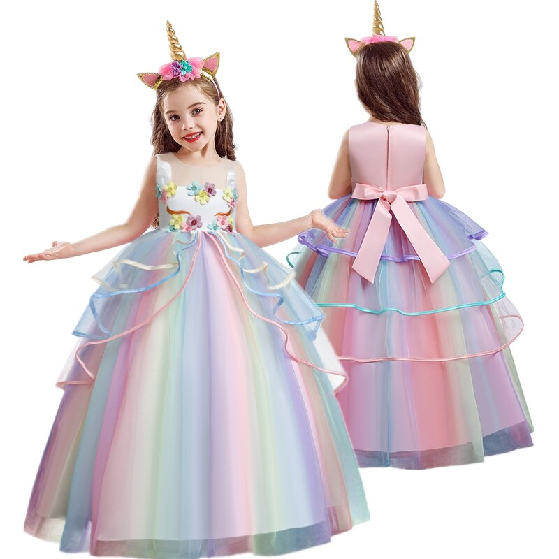 Unicornio flor niña vestido de boda Arco Iris tutu vestido niños ropa niños cumpleaños vestidos de unicornios tamaño 5 8 10 12 14 año