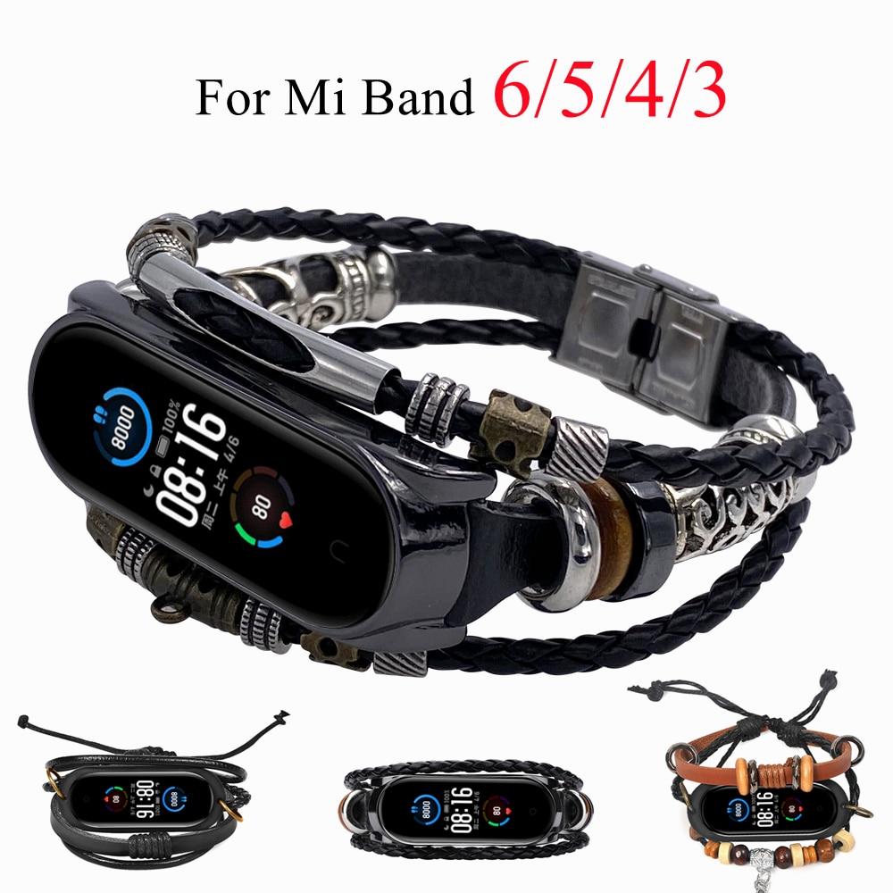AliExpress - Retro Strap for Mi Band 6 5 Leather Beading Bracelet Fashion Braided Strap For Xiaomi Mi Band6 Mi Band5 Mi Band 4 3 Wristband