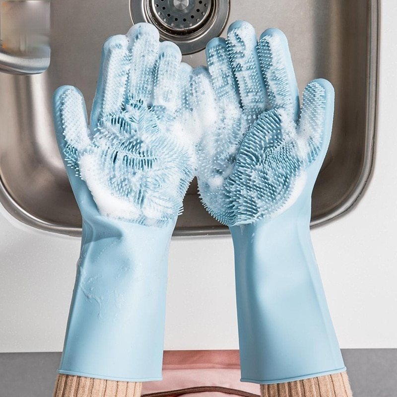Magic Silicone Cleaning Gloves Kitchen Foaming Heat Insulation Pot Pan Oven Mittens Cooking Free  shipping