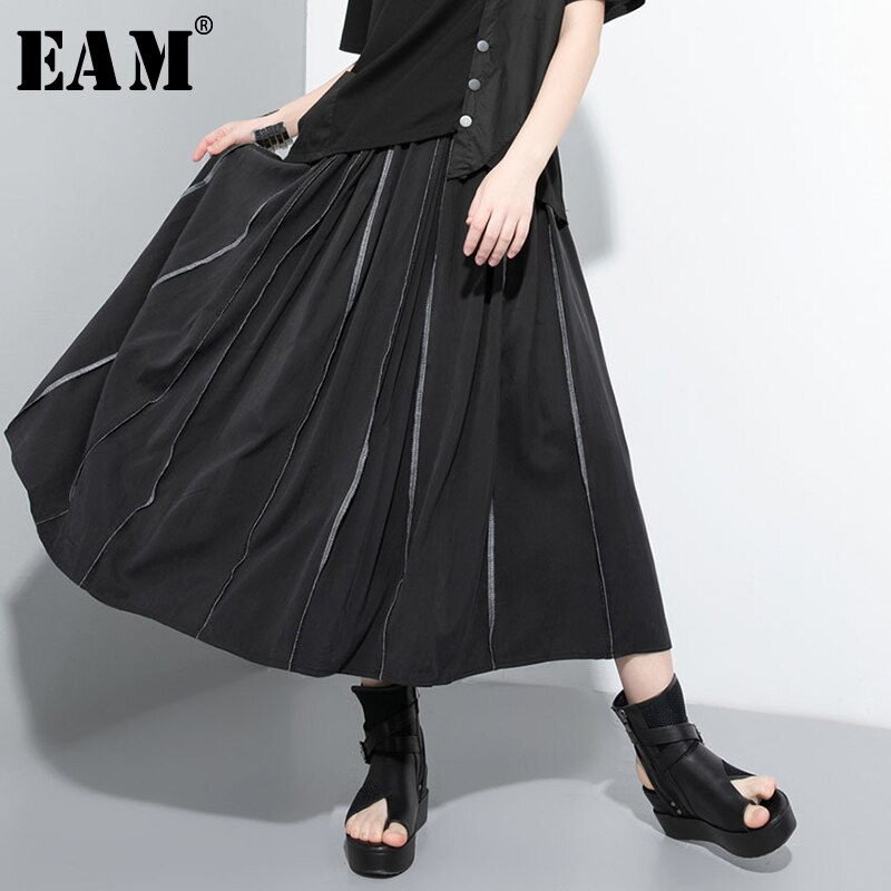 [EAM] High Elastic Waist Black Split Joint Temperament A-Line Half-body Skirt Women Fashion Tide New Spring Autumn 2020 1U823
