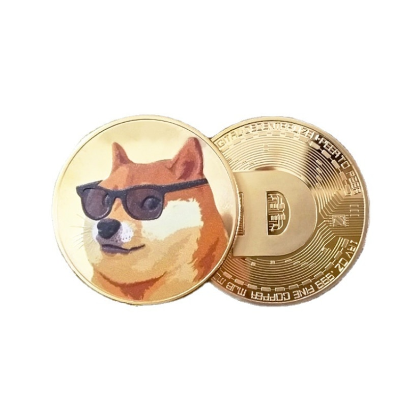 New Style Doge Coin Gold Plated Collectible Coin Physical Cryptocurrency Coin Dogecoin Commemorative Coin