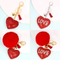valentines day gift pendant love heart rhinestone accessories plush ball keychain key chain ladies bag ornament decoration