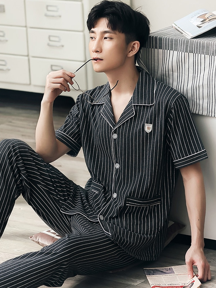 Summer 100% Cotton Pajamas Set Men Striped Short Sleeves Sleepwear Homewear Plus Size Pijama Hombre PJs Cotton Pyjama Homme
