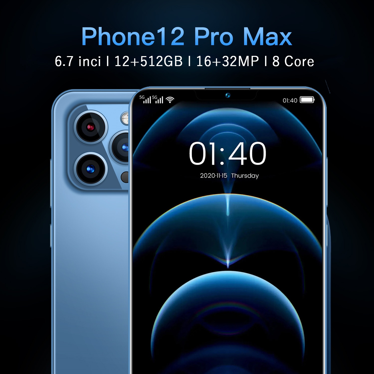 Review (World premiere) 6.7inc notch screen 5G smartphone 12GB+512GB for Apple iPhone 12 Pro mobile phone Samsung Huawei mobile phone