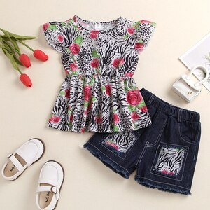Little Baby Girl's Tops and Shorts Suit Newest Fashion Leopard Rose Fly Sleeve Tops and Patchwork Denim Short Pants Summer Suit