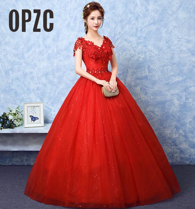 فستان زفاف أحمر رومانسي رخيص ، ياقة على شكل v ، أكمام قصيرة ، زينة دانتيل شخصية ، مقاس كبير ، عتيق