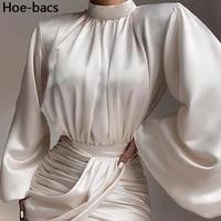 silky satin draped slim asymmetrical long sleeve dress women elegant bodycon mini summer dresses party clubnight sexy vestidos