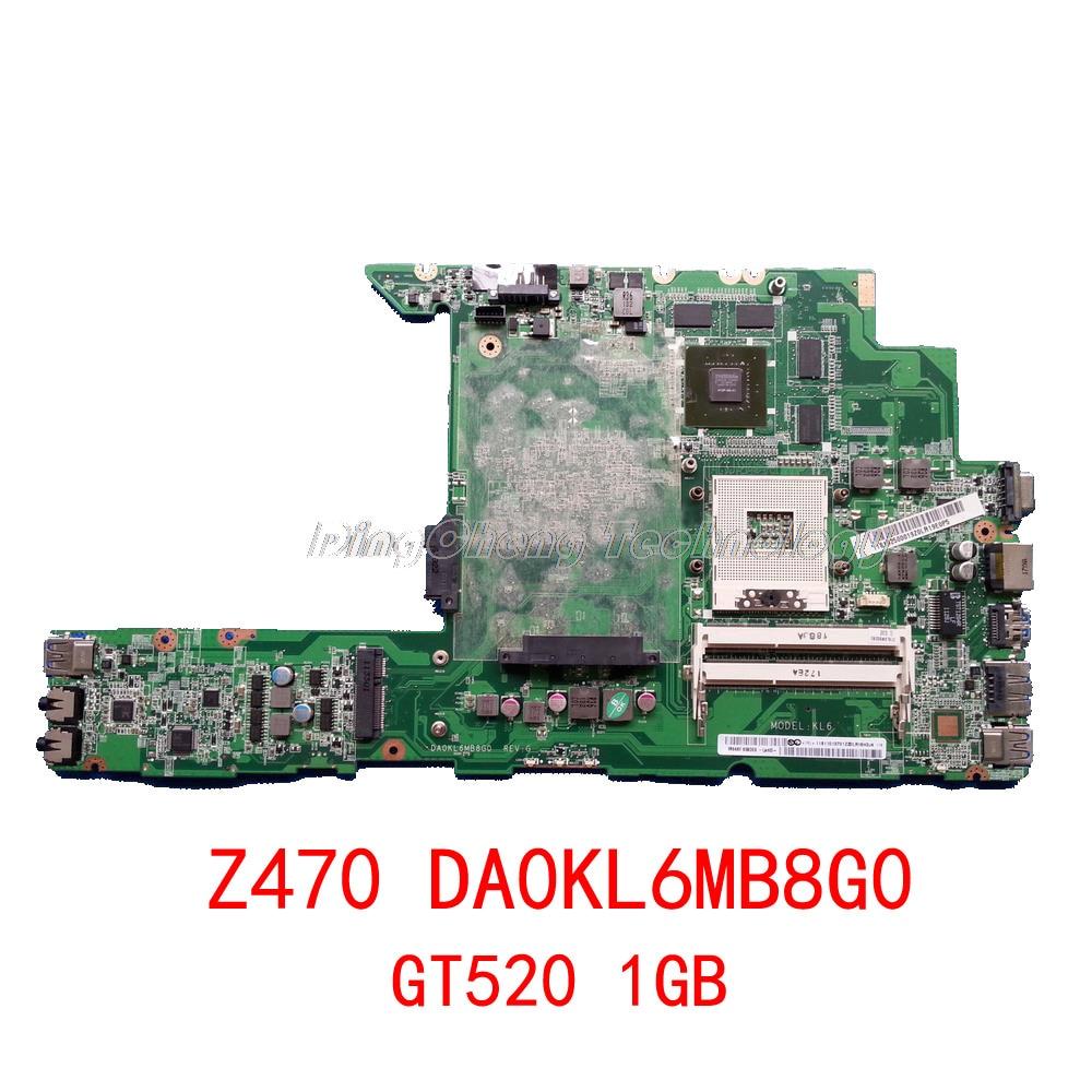 Placa base HOLYTIME para ordenador portátil/placa base para Lenovo Z470 Z470A DA0KL6MB8G0 HM65 DDR3 GT520 tarjeta gráfica de 1GB 100% probada completamente