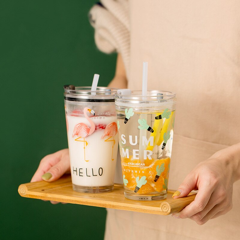 400ML and 450ML Glass Water Cup Straw Glass Child Scale Cup Breakfast Milk Cup Juice Cup Seal with Handle Children's Breakfast