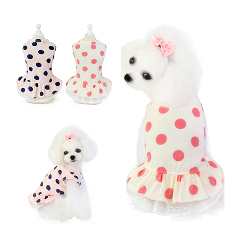 AliExpress - Summer Dot Puppy Dog Cat Dresses for Yorkies Chihuahua Clothing Soft Cotton Lace Pet Clothing for Dogs Cats Pets Skirt Dress