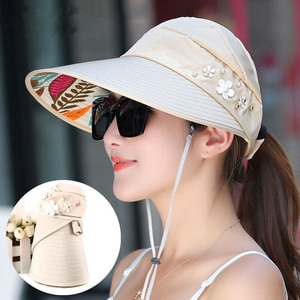 Hot summer sun hat with pearl adjustable big heads wide-brimmed beach hat UV protection packable sun visor hat with