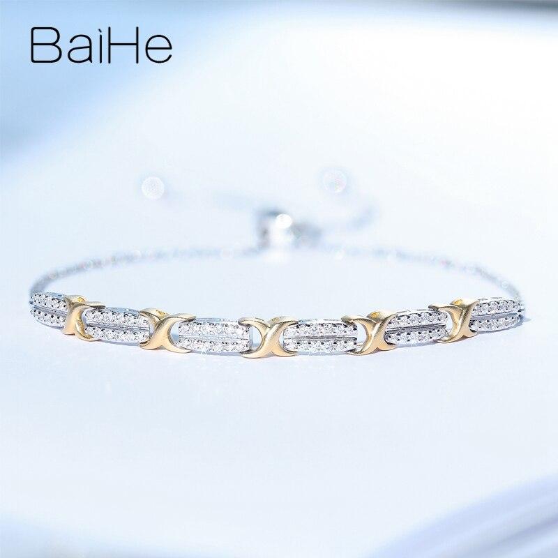 BAIHE sólido 18K oro amarillo blanco 0.20ct H/SI diamante Natural boda mujeres delicado de moda joyería Noble hermosa pulsera de diamante