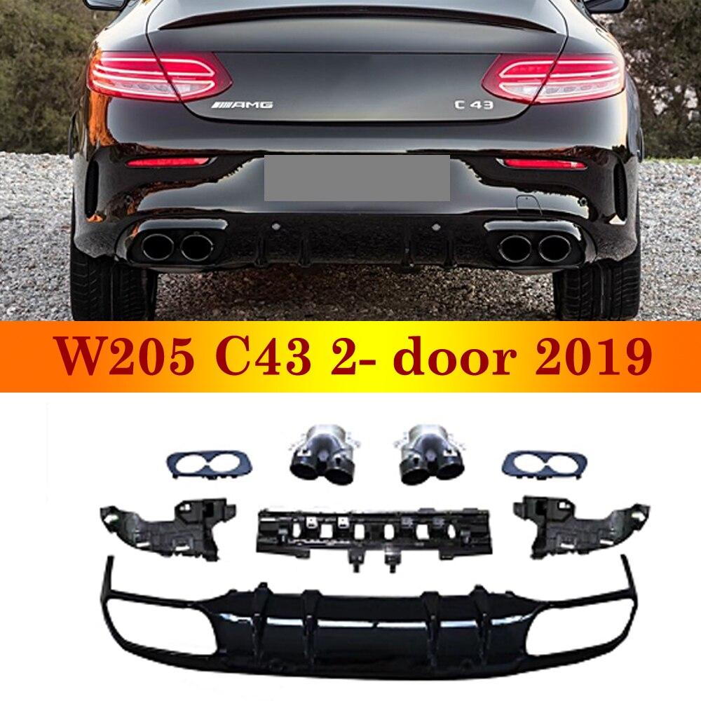 Novedad de 2019, difusor trasero para mercedes-benz Clase C W205 C43, versión deportiva Coupe de 2 puertas, parachoques trasero ABS con terminales de escape