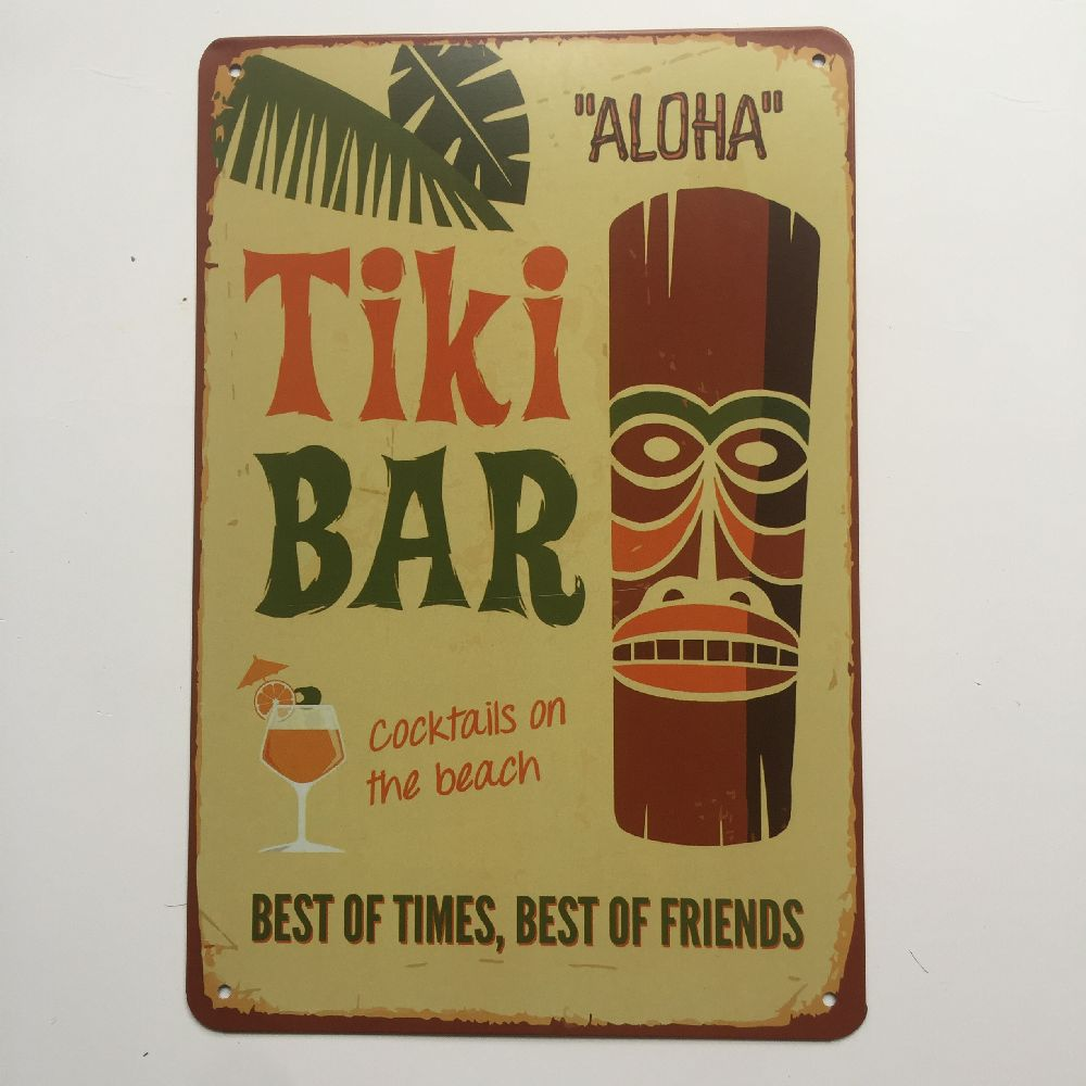 Tiki Bar Beer Vintage Custom Metal Poster Garagr Club Bar Cafe Wall Decor Tin Sign Home Painting Plaques Art Plate Party