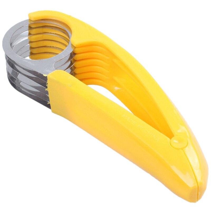 Casa ferramentas de cozinha salada de presunto pressionado fatias de banana cortador de pepino frutas amarelo plástico + aço inoxidável