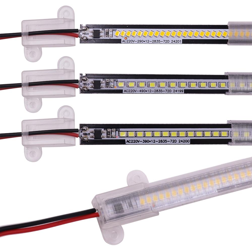 AC 220V LED barra de luz de 5 unids/lote impermeable 2835 LED tira rígida 72 LEDs de alto brillo LED de ahorro de energía tubos fluorescentes Bar