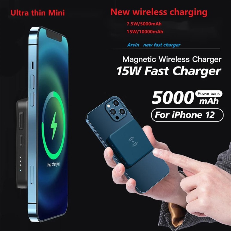 Ultra-thin 5000mAh Magnetic Wireless Power Bank Fast Charger For Magsafe mini powerbank For iphone 12 xiaomi External Battery