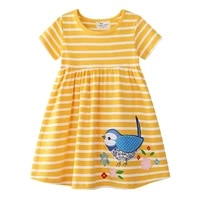 2 6 years toddler girls cotton jersey dress embroidery bird girl baby kids summer outfit sundress summer clothes