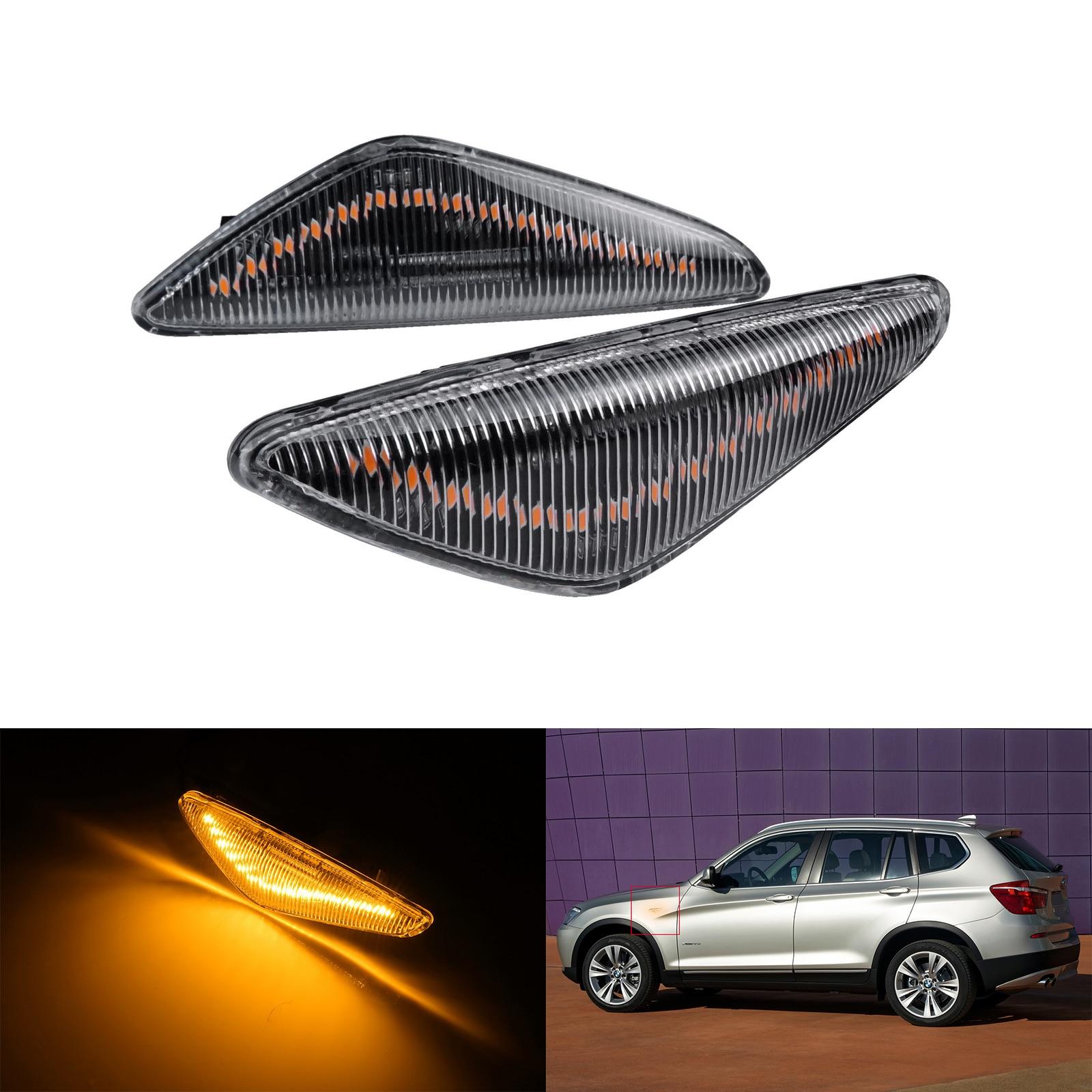ANGRONG 2X For BMW X3 F25 X5 E70 X6 E71 Clear Lens Side Indicator LED Repeater Light Amber