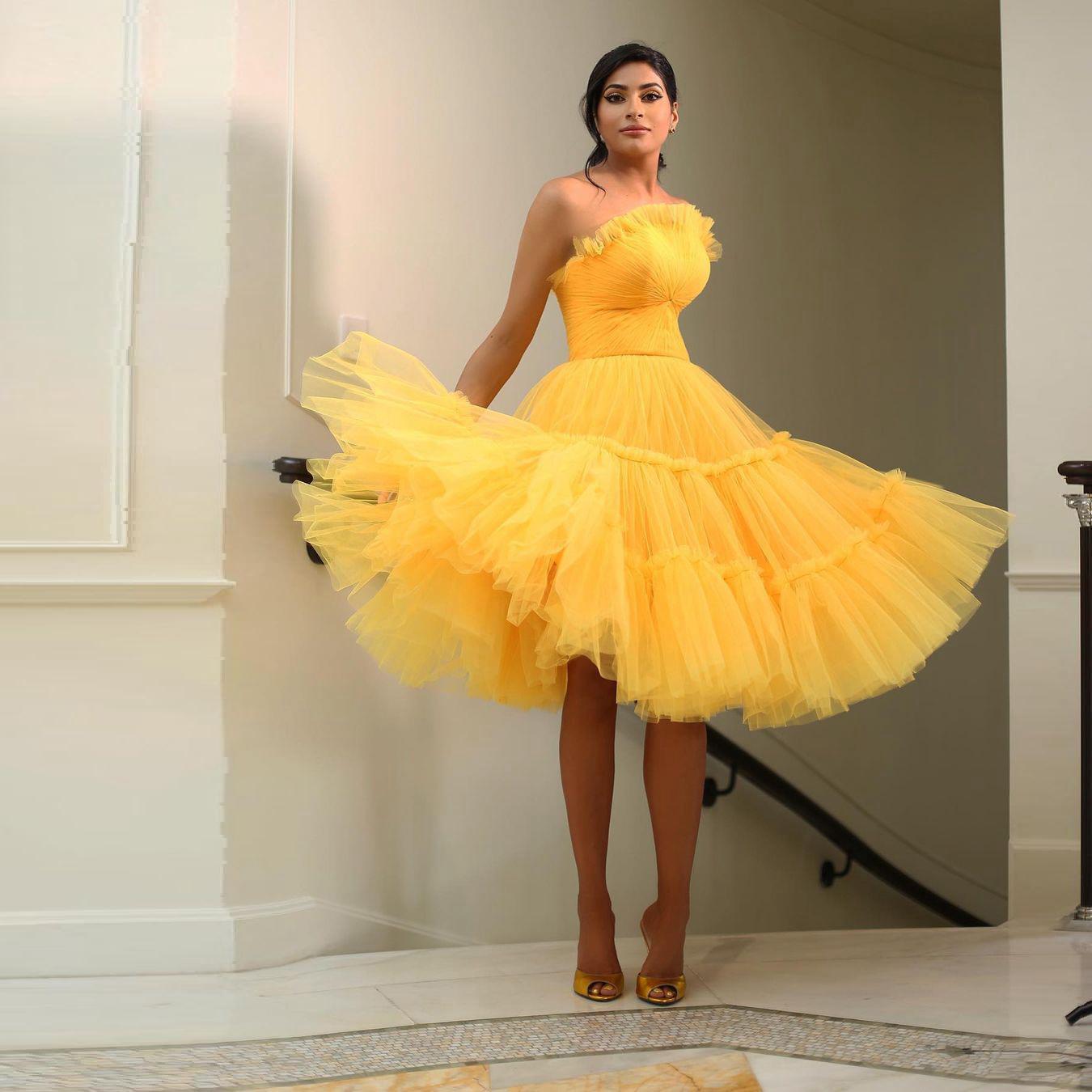 Трапециевидные тюлевые короткие платья для выпускного вечера без бретелек на молнии сзади для встречи выпускников вечерние платья длиной ...