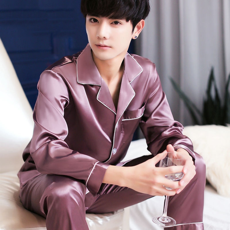 2020 New Men% 27s Stain Silk Pajama Set Men Silk Sleepwear Men Sexy Modern Style Soft Cozy Satin Nightgown Men Sets