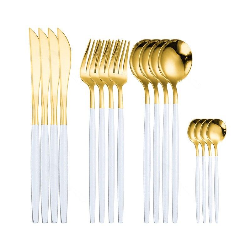 Juego de vajilla para el hogar Juego de cubiertos de acero inoxidable 16 piezas tenedor cuchara cuchillo vajilla juego de cubiertos blancos y dorados Dropshipping