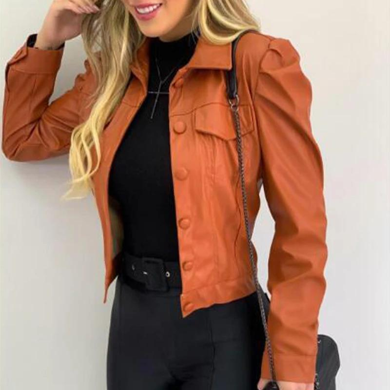 Autumn PU Leather Pleated Women Short Jacket Long Sleeve Turn-Down Collar Single Breasted Female Jackets Solid Casual Lady Coat
