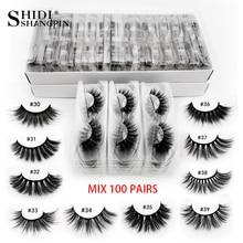 Wholesale 3d mink false eyelashes 20/30/40/50/60/100 pairs fluffy wispy fake lashes natural soft makeup lashes extension in bulk