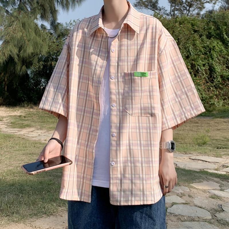 Рубашка в клетку, мужская рубашка, новинка 2021, летняя модная мужская рубашка в клетку, мужская рубашка с коротким рукавом, мужская рубашка