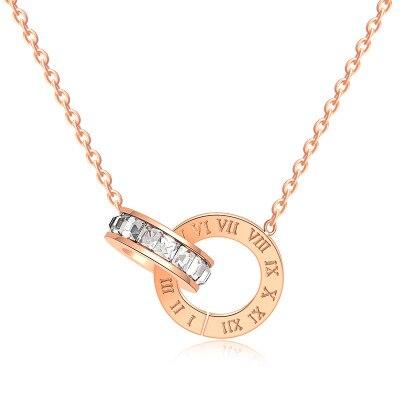 Mujeres Blanco/negro/rojo circonita cúbica redonda con colgante redondo numeral romano collar de acero inoxidable cadenas de oro rosa collares