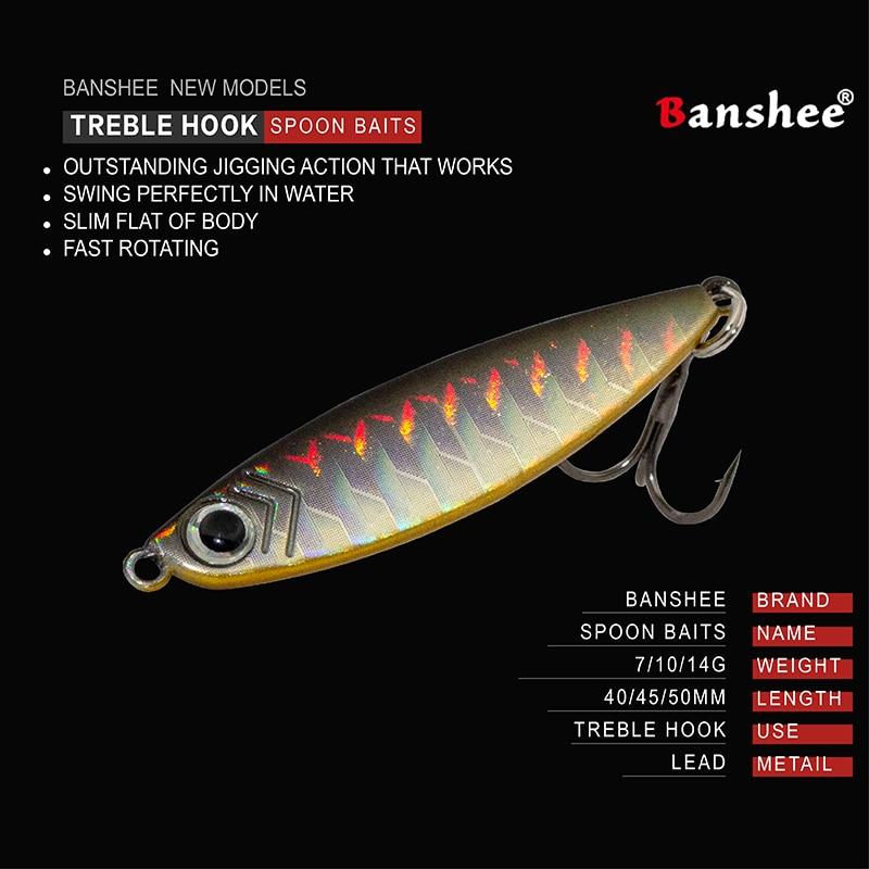 Banshee Metal Vib Fishing Lures Trout Spoon Lure Spinner Bait Cast Jig Spoon 7g 10g 14g Shore Casting Jigging Lead Fish Sea Bass