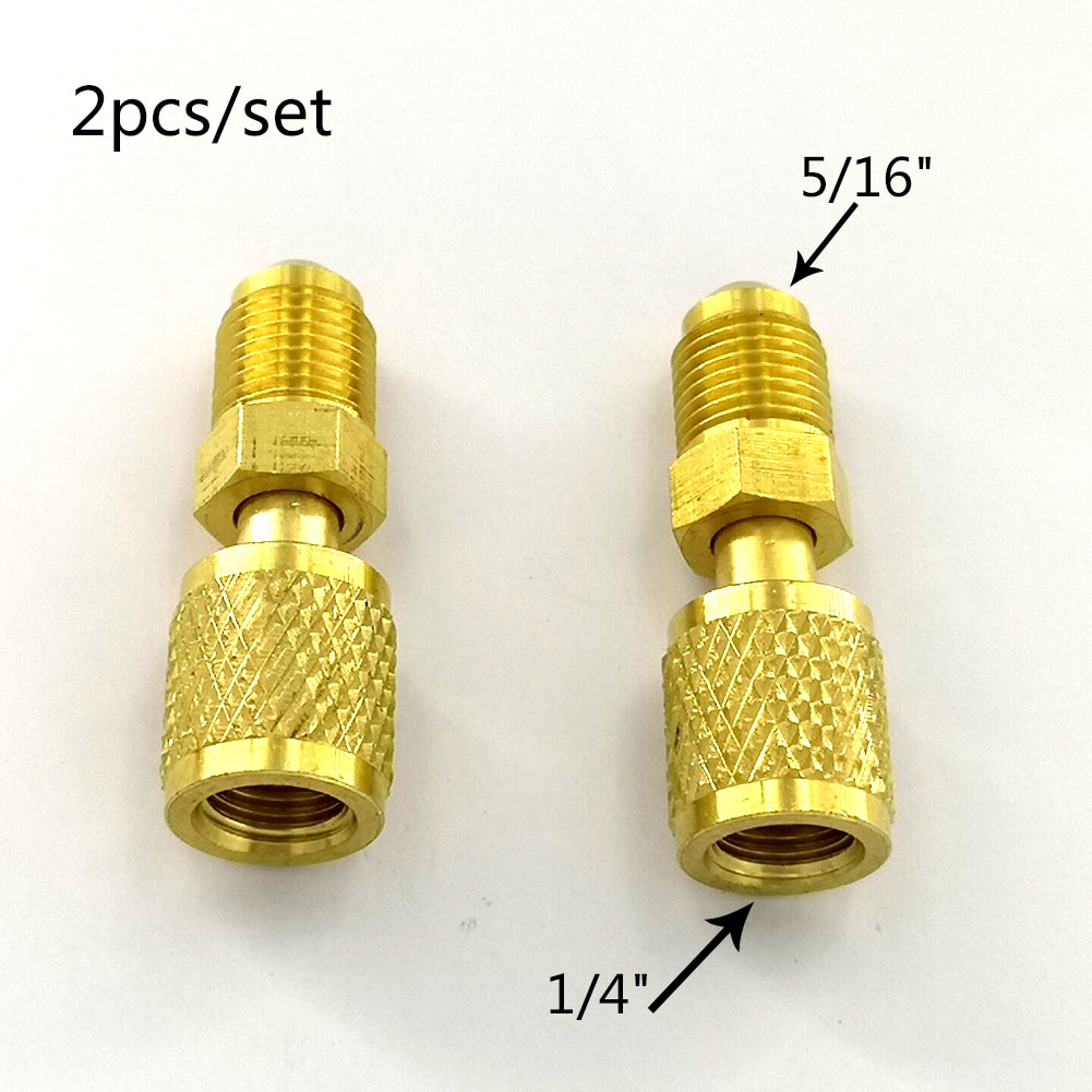 2Pcs Air Conditioning Adapter Male 5/16'' SAE Female 1/4'' SAE For R410 R32 Adapter Air Conditioning Refrigerant Repair Fluoride