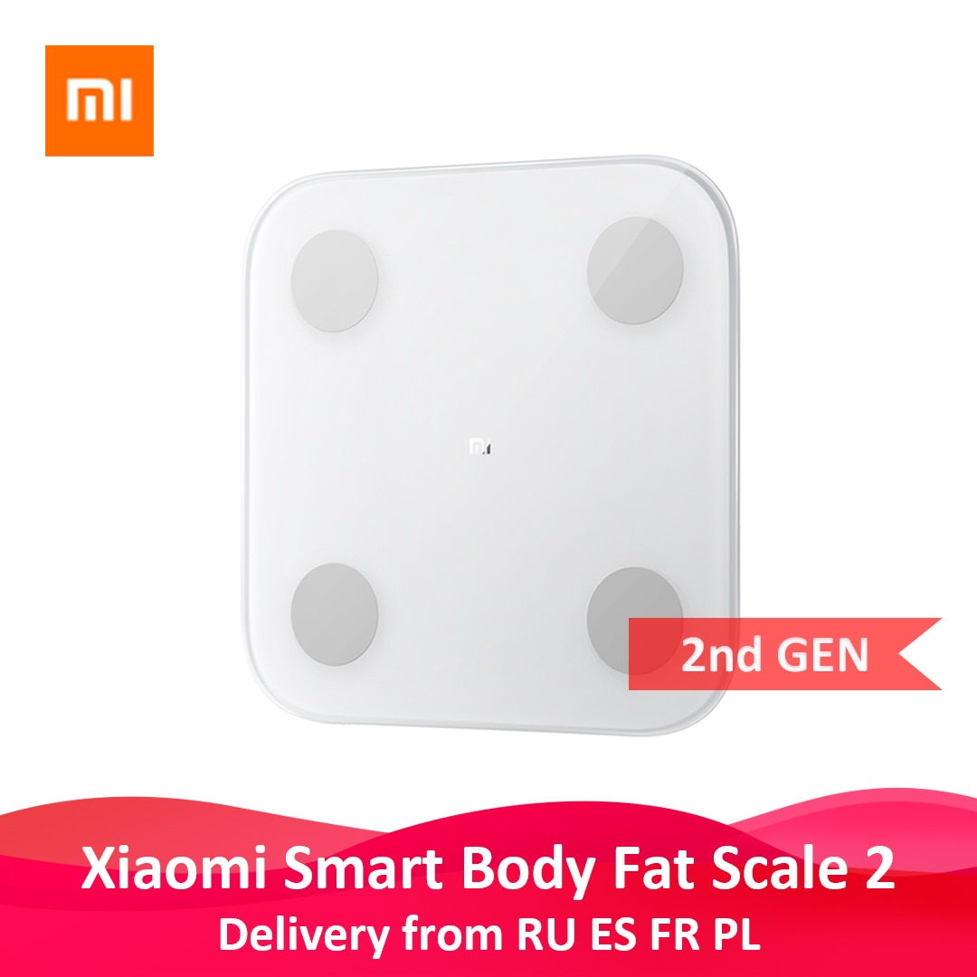Original xiaomi mi inteligente gordura corporal composição escala 2 bluetooth teste de equilíbrio 13 data do corpo imc saúde peso escala display led