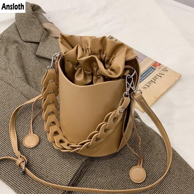 Ansloth New Style Vintage Bucket Bag 2021 PU Leather Shoulder Bags For Women Brand Luxury Crossbody Bag Mini Cute Ladies HPS1020