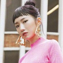 FFLACELL 2020 moda Vingate Metal muy grandes de oro geométrica grande de bambú gota pendientes Punk Hip Hop joyería para las mujeres