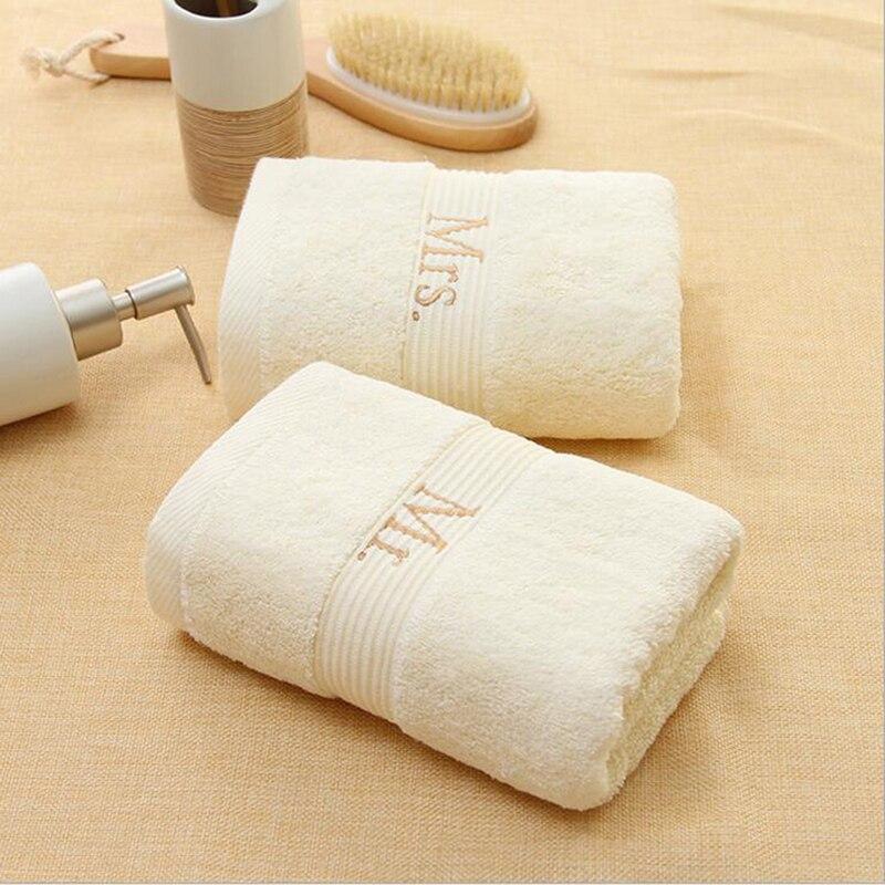 75*33 см хлопковое Двухслойное Хлопковое полотенце с вышивкой, однотонное цветное банное полотенце, пляжное полотенце для молодоженов, предметы для ванной комнаты