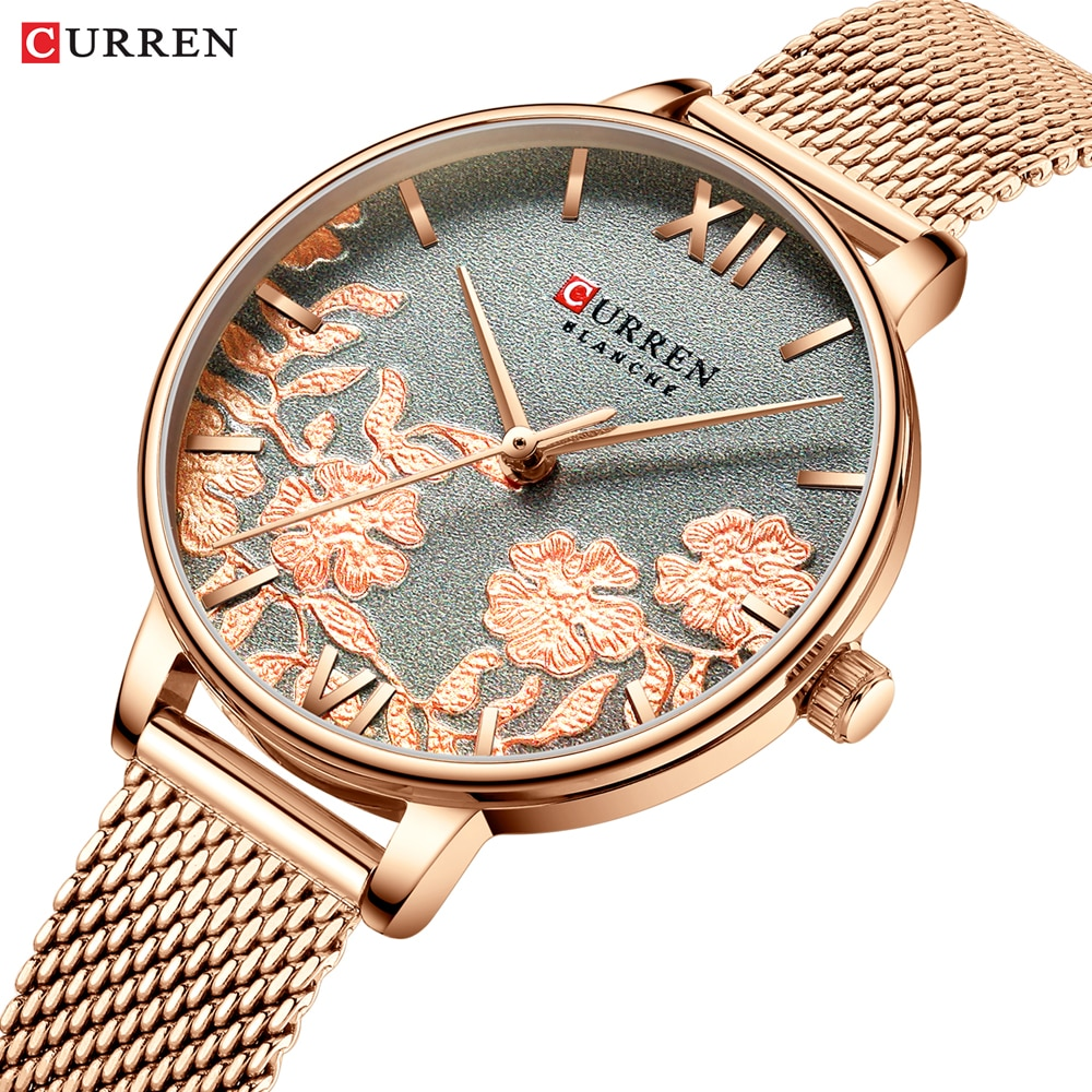 Curren Women Watches Luxury Brand Ladies Quartz Watch 3D Flower Rose Gold Stainless Steel Bracelet Fashion Wristwatches Female