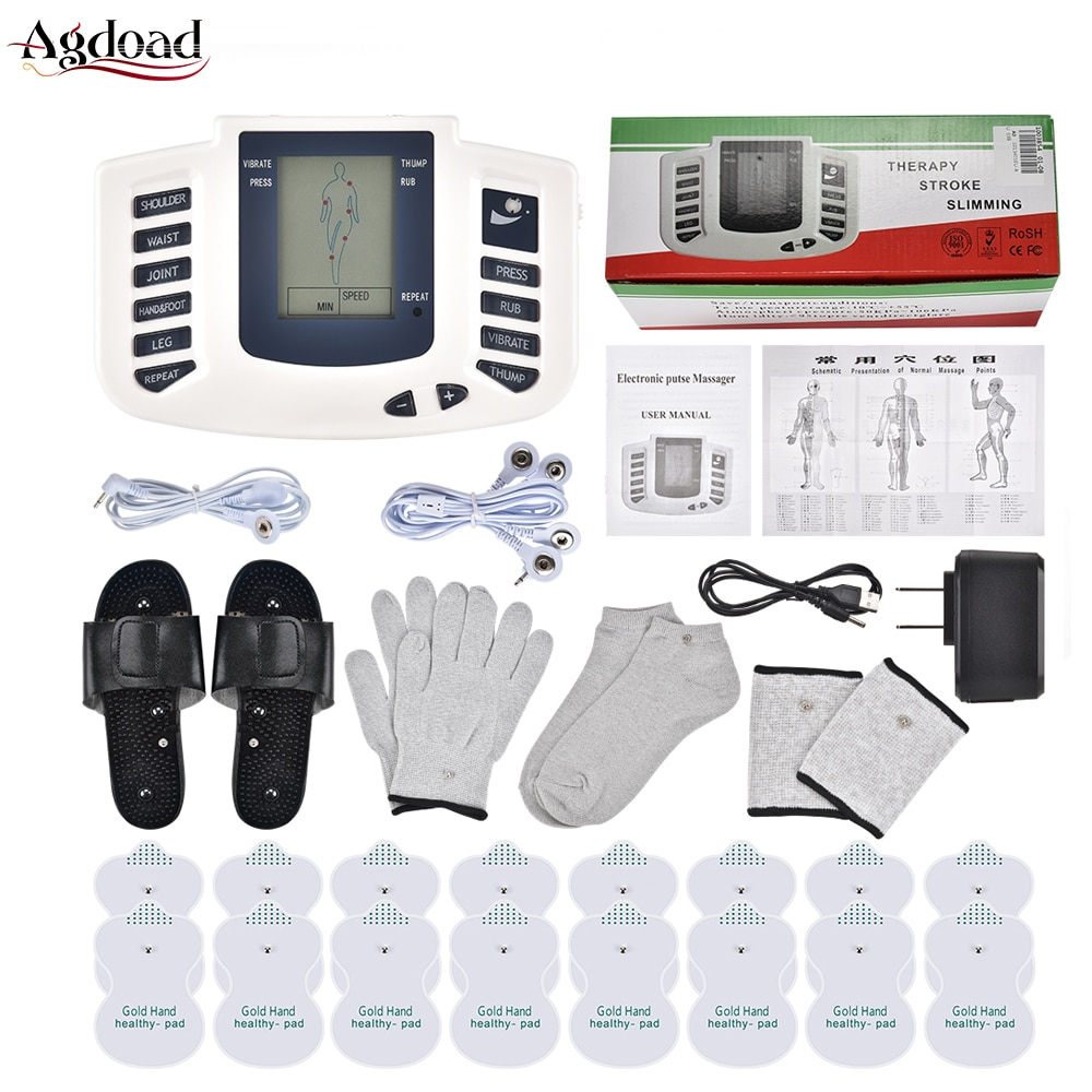 EMS Body Electrical Muscle Stimulator Tens Acupuncture Slimming Massager Body Massage Digital Therapy for Back Neck Foot 16 Pads 30pairs professional square tens ems replacement electrode pads self adhesive nowoven patch for digital physiotherapy massager