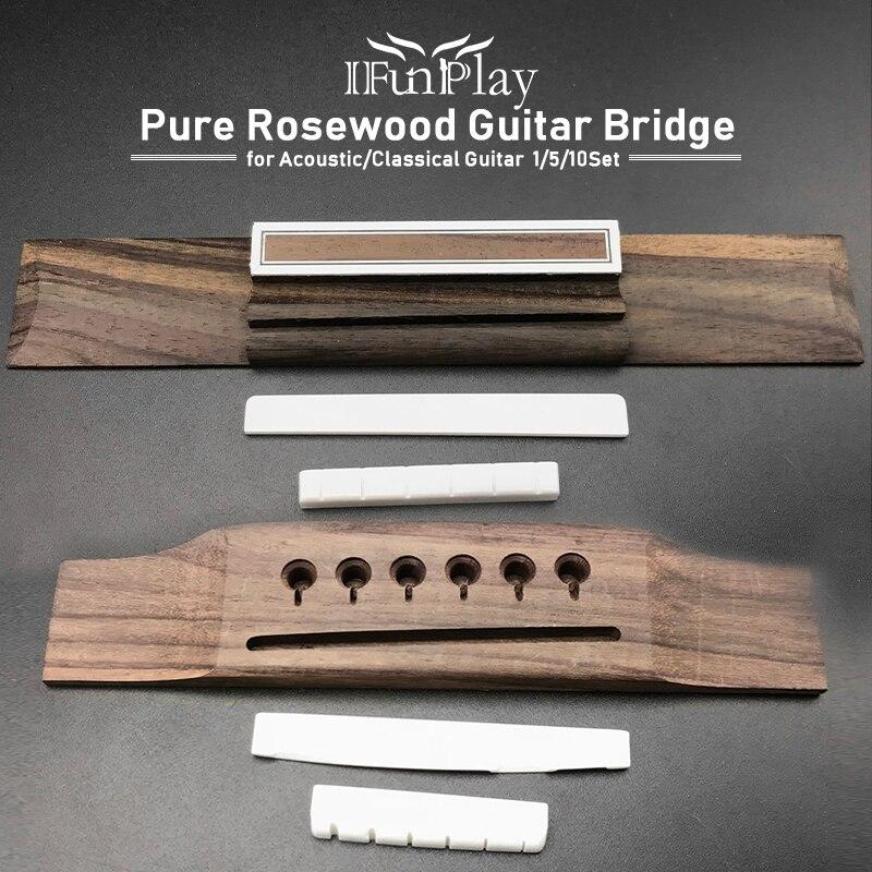 1/5/10 puente de guitarra acústica clásica de palisandro puro con tuerca de puente de hueso puro y accesorios de Violao