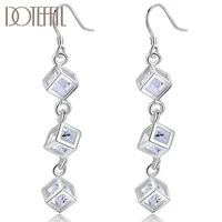 doteffil 925 sterling silver square cubic zircon drop earrings for women best gift wedding engagement jewelry