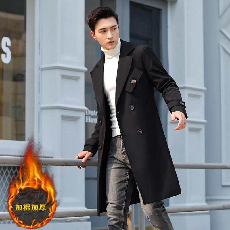 Зимняя мужская зимняя куртка, бриджи 4XL, Повседневная хлопковая теплая парка, повседневная шерстяная длинная мужская куртка с капюшоном из ...