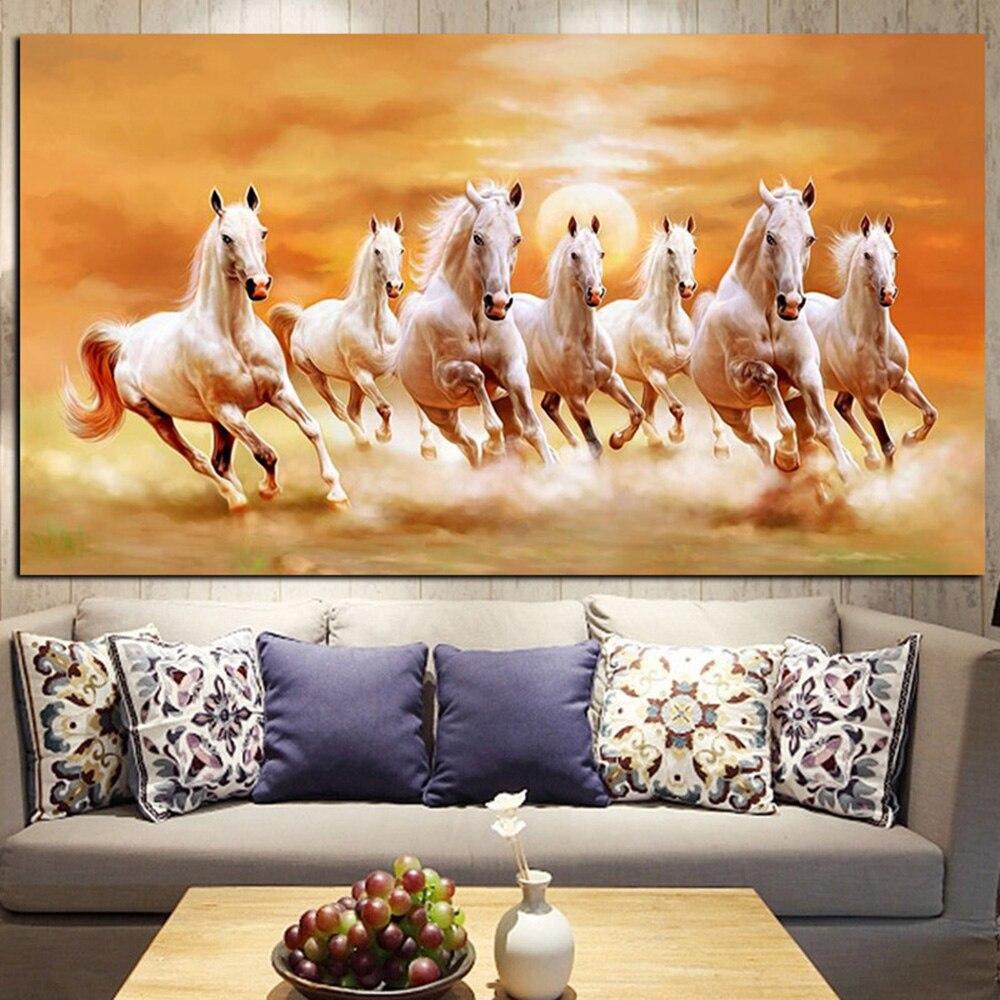 Quadrado completo broca redonda 5d pintura diamante animal mosaico moderno mural cartaz diy diamante bordado cavalo branco decoração da sua casa