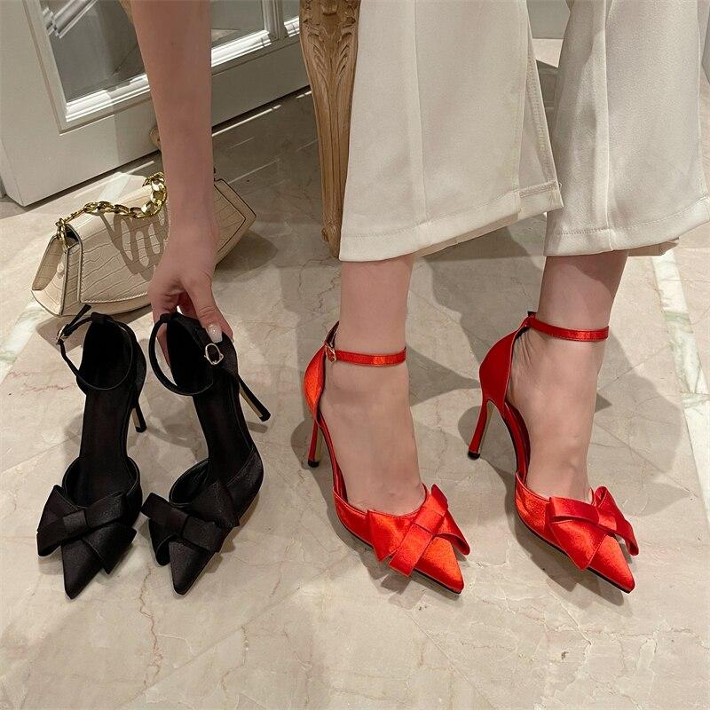 Женские туфли с бантом Новинка Лето-осень туфли на высоком каблуке-шпильке с пряжкой сандалии с закрытым носком туфли