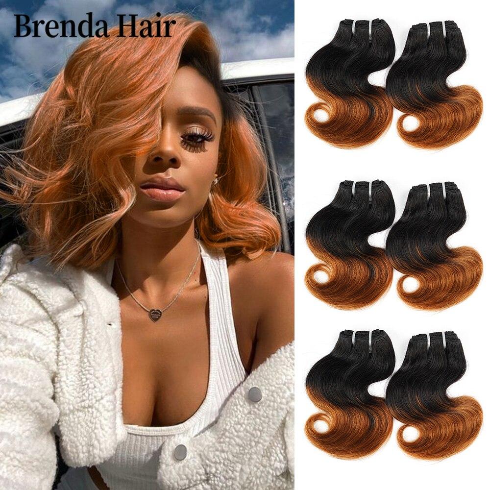 6 unids/set 190 g/Set de la onda del cuerpo extensiones de cabello humano brasileño extensiones de pelo ondulado 1B 30 99J Ombre paquetes de pelo extensiones de cabello corto